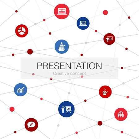 presentation trendy web template with simple icons. Contains such elements as lecturer, topic, business presentation