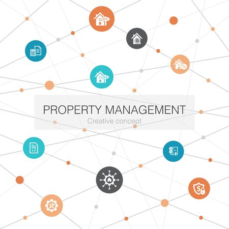 property management trendy web template with simple icons. Contains such elements as leasing, mortgage, security deposit