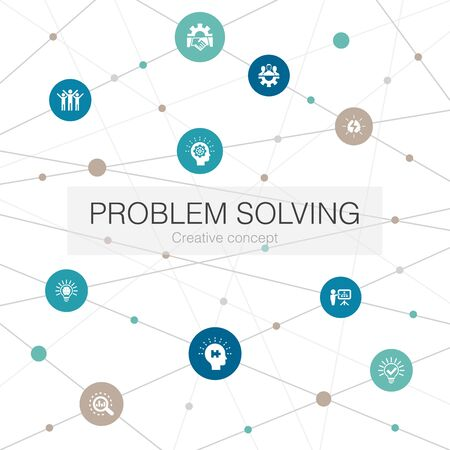 problem solving trendy web template with simple icons. Contains such elements as analysis, idea, brainstorming