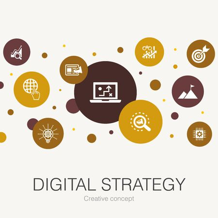 digital strategy trendy circle template with simple icons. Contains such elements as internet, SEO, content marketing Illustration