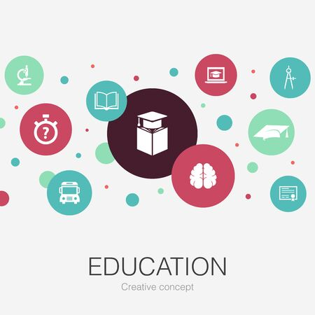 education trendy circle template with simple icons. Contains such elements as graduation, microscope, quiz