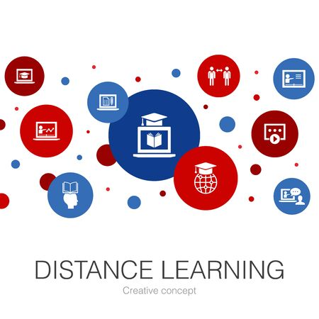 Distance Learning trendy circle template with simple icons. Contains such elements as online education, webinar, learning process, video course