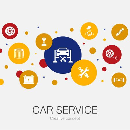 Car service trendy circle template with simple icons. Contains such elements as disk brake, suspension, spare parts Illustration
