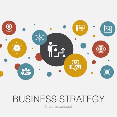 Business strategy trendy circle template with simple icons. Contains such elements as planning, business model, vision