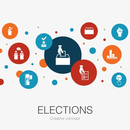 Elections trendy circle template with simple icons. Contains such elements as Ballot box, Candidate Ilustração