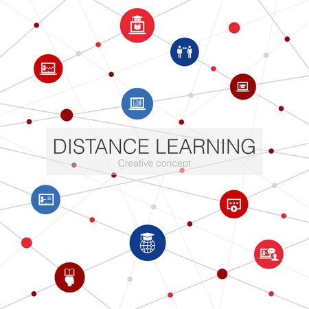 Distance Learning trendy web template with simple icons. Contains such elements as online education, webinar, learning process, video Çizim