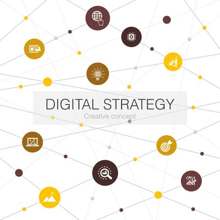 digital strategy trendy web template with simple icons. Contains such elements as internet, SEO, content marketing Illustration