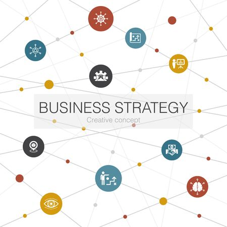 Business strategy trendy web template with simple icons. Contains such elements as planning, business model, vision Vectores