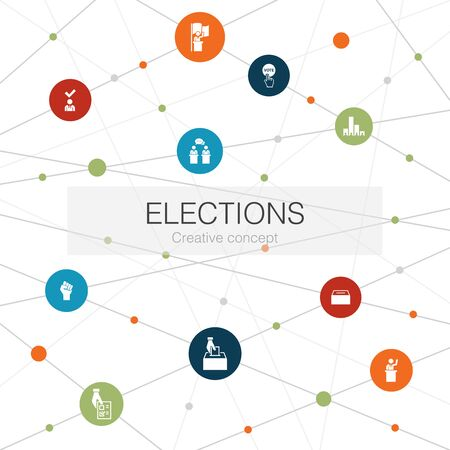 Verkiezingen trendy websjabloon met eenvoudige pictogrammen. Bevat elementen als stembus, kandidaat, poll Vector Illustratie