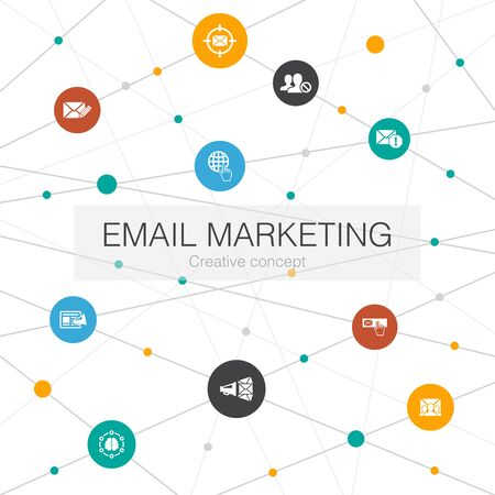 Email Marketing trendy web template with simple icons. Contains such elements as subscribe, compose mail, Blacklist Stock Illustratie