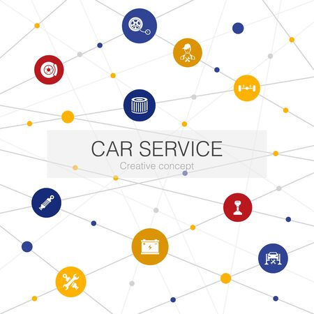 Car service trendy web template with simple icons. Contains such elements as disk brake, suspension, spare parts