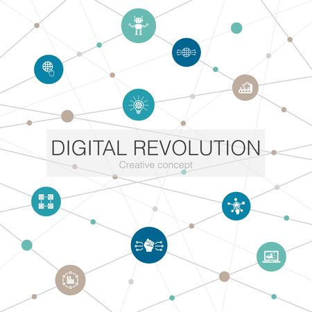 digital revolution trendy web template with simple icons. Contains such elements as internet, blockchain, innovation, industry Vettoriali