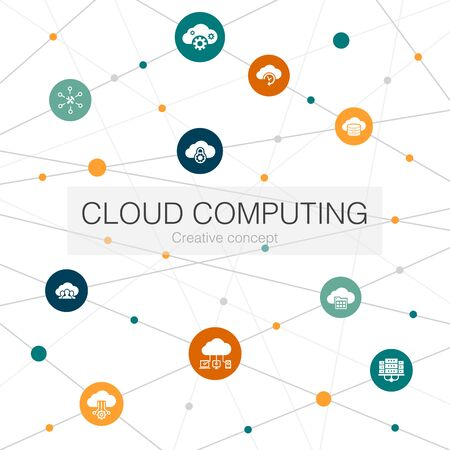 Cloud computing trendy web template with simple icons. Contains such elements as Cloud Backup, data center, SaaS, provider