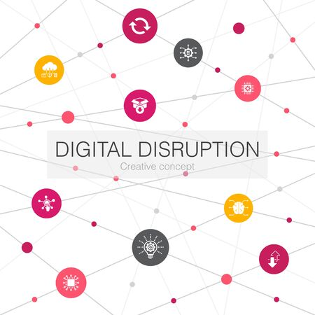 digital disruption trendy web template with simple icons. Contains such elements as technology, innovation, IOT, digitization