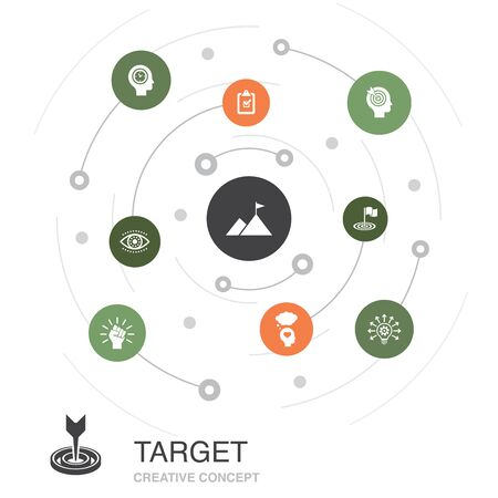 target colored circle concept with simple icons. Contains such elements as big idea, task, goal Illustration