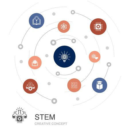 STEM colored circle concept with simple icons. Contains such elements as science, technology, engineering Illustration