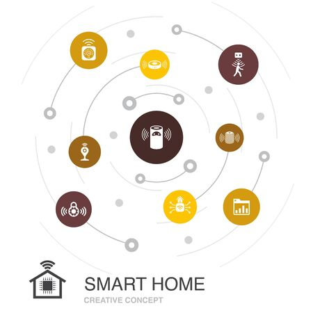 Smart home colored circle concept with simple icons. Contains such elements as motion sensor, dashboard, smart assistant, vacuum