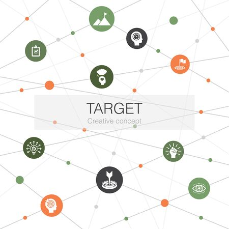 target trendy web template with simple icons. Contains such elements as big idea, task, goal, patience