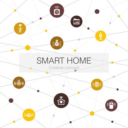 Smart home trendy web template with simple icons. Contains such elements as motion sensor, dashboard, smart assistant, vacuum