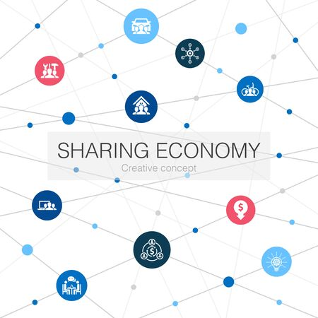 Sharing economy trendy web template with simple icons. Contains such elements as coworking, car sharing, Crowdfunding