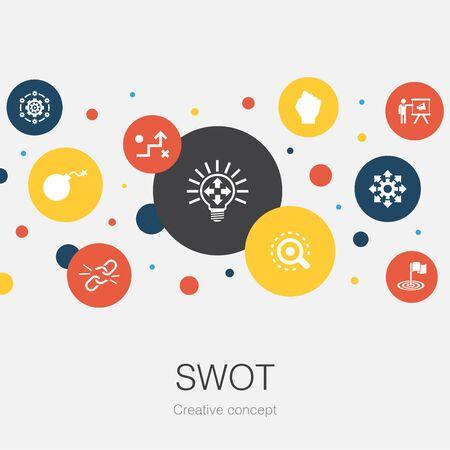 Modèle de cercle tendance SWOT avec des icônes simples. Contient des éléments tels que Force, faiblesse, opportunité, menace Vecteurs