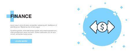 finance icon, banner outline template concept. finance line illustration