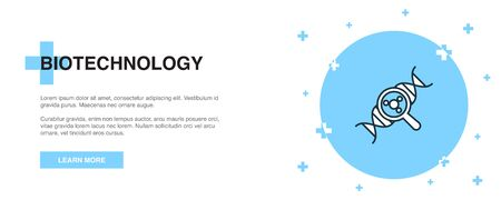 Biotechnology line icon. Simple icon, banner outline template concept. Biotechnology line icon. Simple line illustration