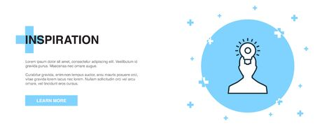 inspiration icon, banner outline template concept. inspiration line illustration