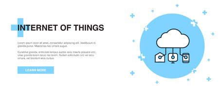 Internet of things icon, banner outline template concept. Internet of things line illustration
