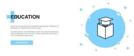 education icon, banner outline template concept. education line illustration