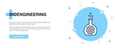 bioengineering line icon. Simple icon, banner outline template concept. bioengineering line icon. Simple line illustration