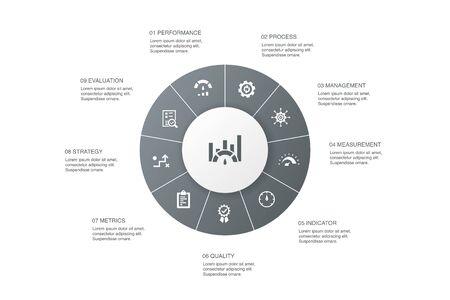 Benchmarking Infografik 10 Schritte Kreisdesign.Performance, Prozess, Management, Indikator einfache Symbole