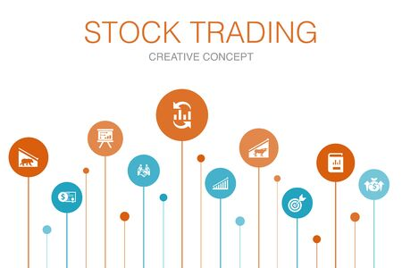 stock trading Infographic 10 steps template. bull market, bear market, annual report, target icons 写真素材 - 132115992
