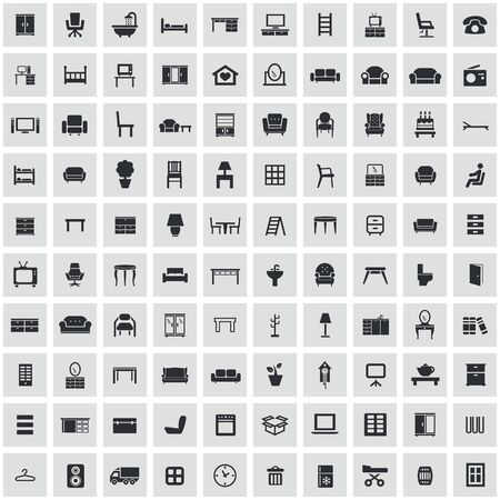 furniture 100 icons universal set for web and mobile. Stock Illustratie