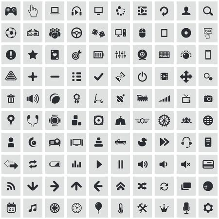 game 100 icons universal set for web and mobile.