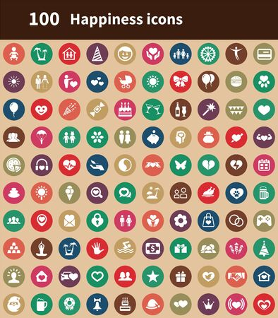 happiness 100 icons universal set for web and UI Ilustracja