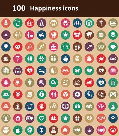 happiness 100 icons universal set for web and UI Illusztráció
