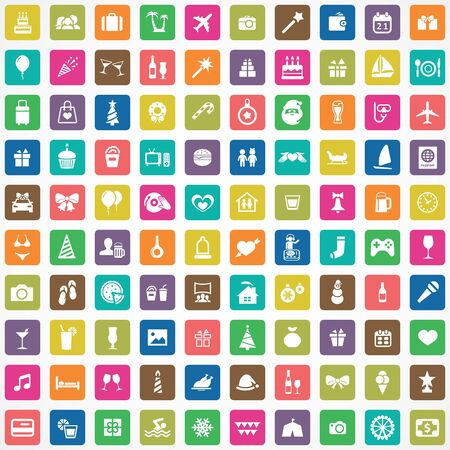 holiday 100 icons universal set for web and mobile Banque d'images - 131617890