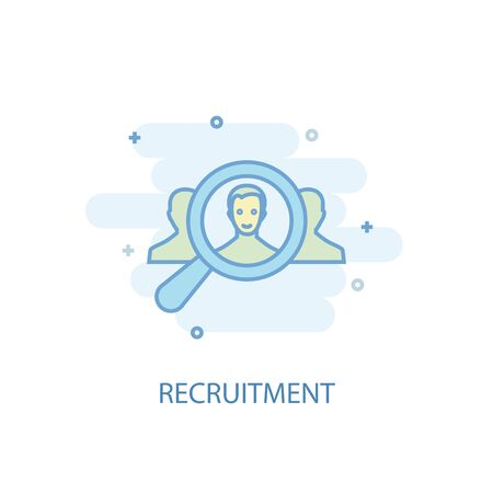 recruitment line concept. Simple line icon, colored illustration. recruitment symbol flat design. Can be used for UI  イラスト・ベクター素材