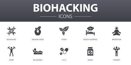 Conjunto de iconos de concepto simple de biohacking. Contiene íconos como alimentos orgánicos, sueño saludable, meditación, medicamentos y más, se puede usar para web, logotipo, interfaz de usuario Logos