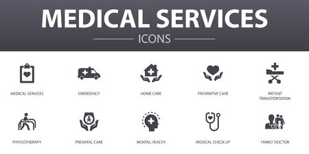 Medical services simple concept icons set. Contains such icons as Emergency, Preventive care, patient Transportation, Prenatal care and more, can be used for web, logo, UI 向量圖像