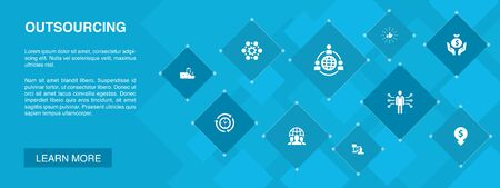 outsourcing banner 10 icons concept. online interview, freelance, business process, outsource team simple icons