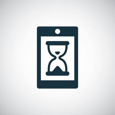 smartphone hourglass icon, on white background.