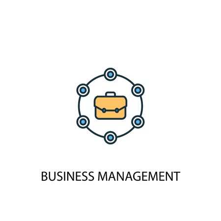 business management concept 2 colored line icon. Simple yellow and blue element illustration. business management concept outline symbol design 向量圖像
