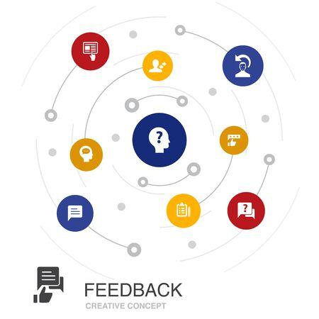 retroalimentación concepto de círculo de color con iconos simples. Contiene elementos tales como encuesta, opinión, comentario.