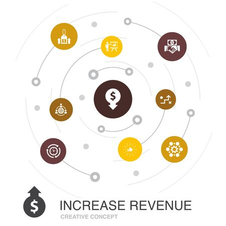increase revenue colored circle concept with simple icons. Contains such elements as Raise prices, reduce expenses, best practices