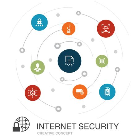 Internet Security colored circle concept with simple icons. Contains such elements as cyber security, fingerprint scanner, data encryption