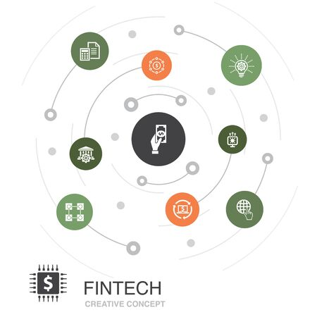 fintech colored circle concept with simple icons. Contains such elements as finance, technology, blockchain
