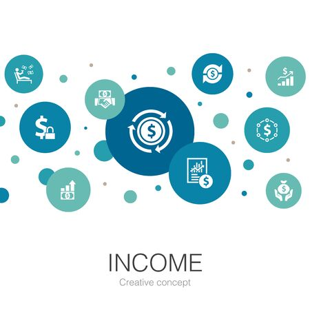 Income trendy circle template with simple icons. Contains such elements as save money, profit, investment, profitability Ilustração