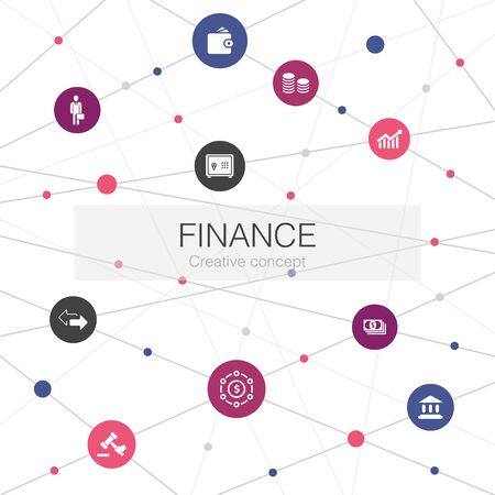 Finance trendy web template with simple icons. Contains such elements as Bank, Money, Graph, Exchange